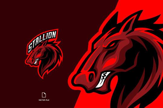 red horse mascot esport logo for game team template illustration