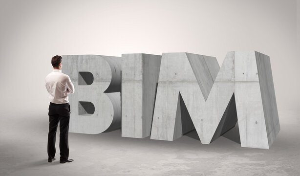 Rear view of a businessman standing in front of BIM abbreviation, modern technology concept