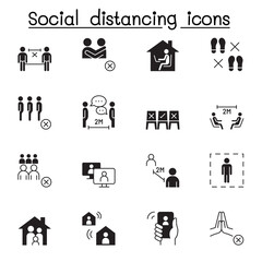Set of Social distancing Related Vector Icons. Contains such Icons as avoid crowd, work from home, new normal, stay home and more.