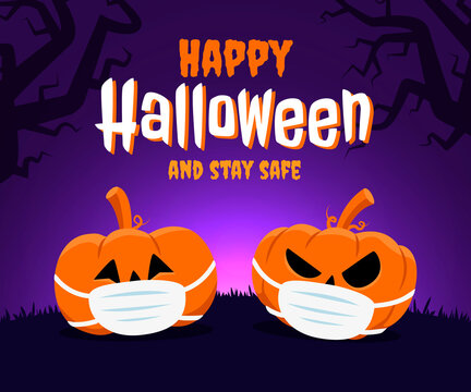 Happy Halloween and stay safe concept. Two pumpkins wearing a face mask because of coronavirus