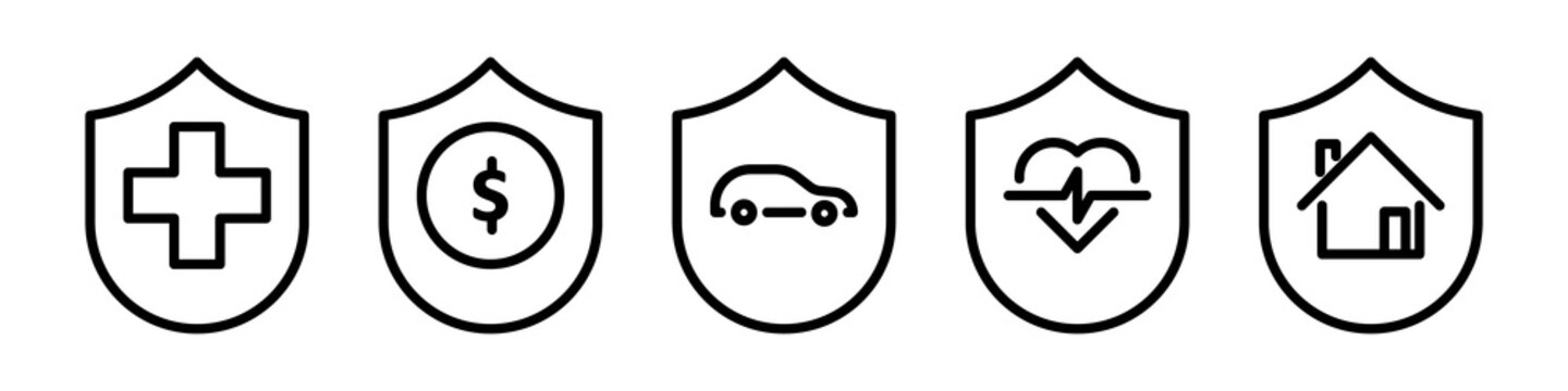 Insurance icon set. Protection of health, life and property, linear design. Line with editable stroke
