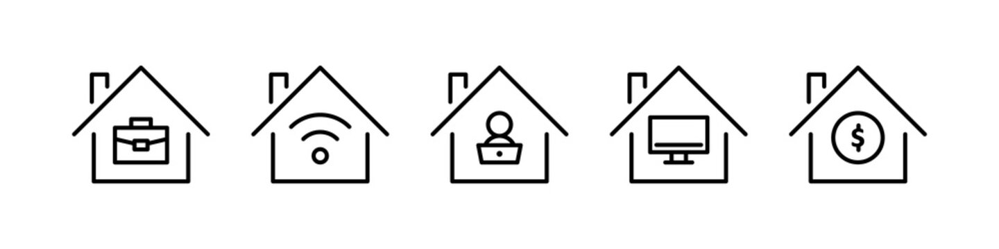 Work from home line icons. Vector illustration included icon as freelance worker with laptop, workspace, pc monitor, business outline pictogram for online job.