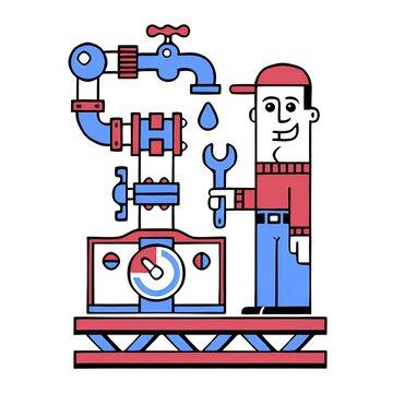 retro cartoon style plumber illustration