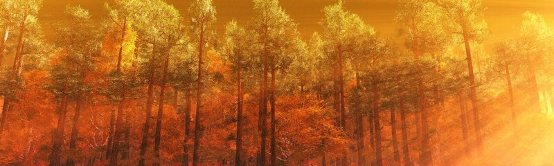 Beautiful autumn landscape, autumn trees in the rays of the sun, banner, 3D rendering