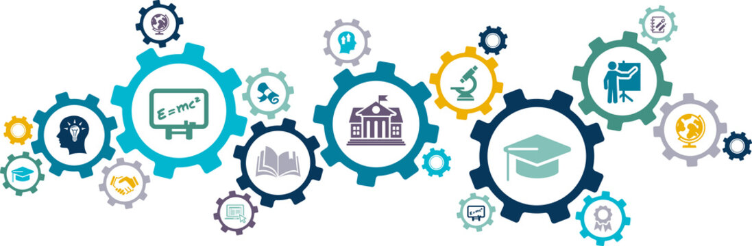 university / college vector illustration. Concept with connected icons related to higher education, academic course, high school, campus or university study.