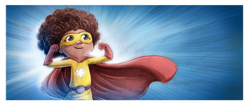 kid afro superhero