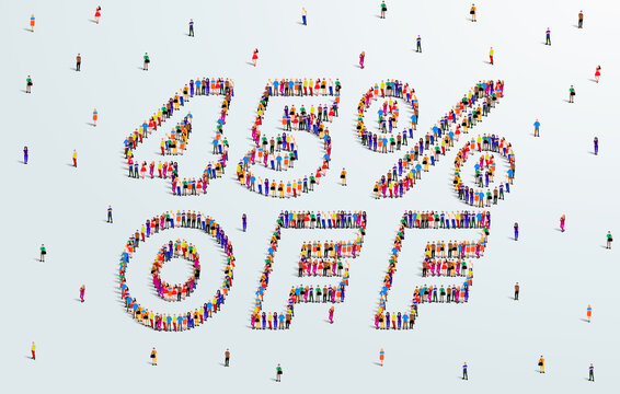 45 Percent off. Large group of people form to create a shape 45% off. Special Offer Sale Design. Vector Illustration of advertising banner.