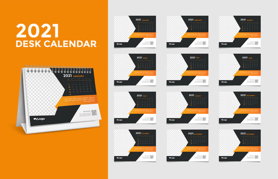 Calendar 2021, Set Desk Calendar template design with Place for Photo and Company Logo. The week starts on Sunday. Set of 12 Months