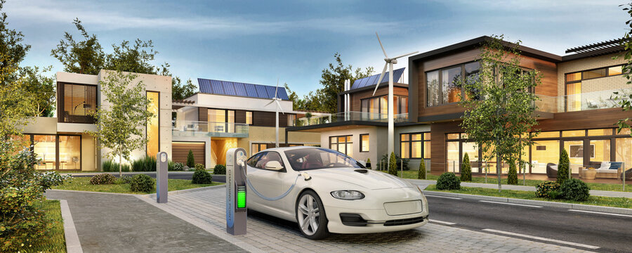 Modern houses with solar panels and electric car