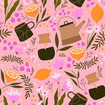 Lemon and Daisies Repeat Pattern