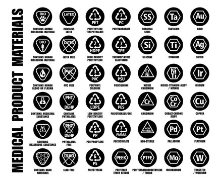 Full vector collection of plastic, metal, biological materials using for medical goods, products, devices. ISO, FDA medicine equipment packaging black symbols isolated on white