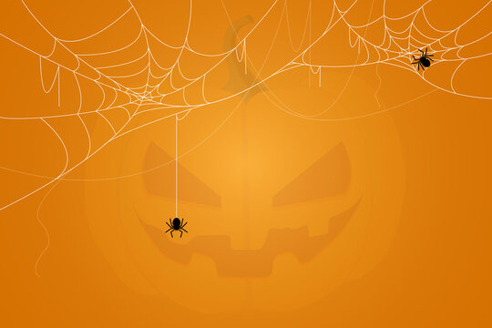 Spider and cobweb background. The scary of the halloween