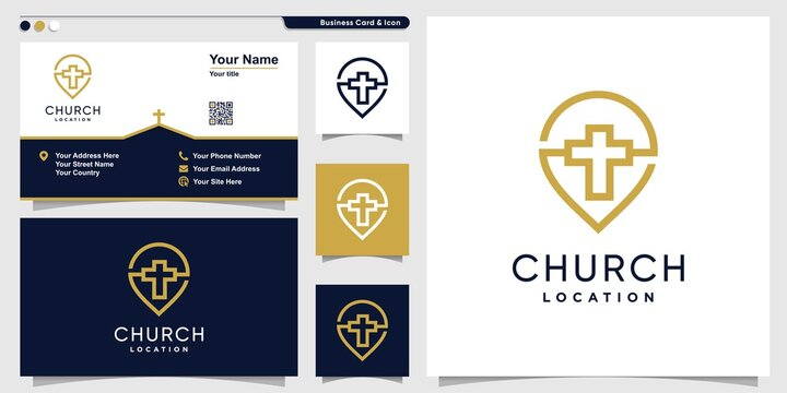 Church logo with point line art style and business card design template, religion, template, Premium Vector