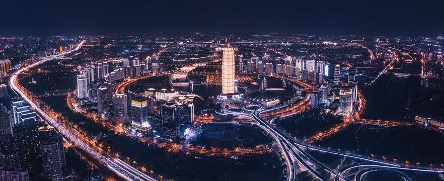 中国郑州CBD航拍