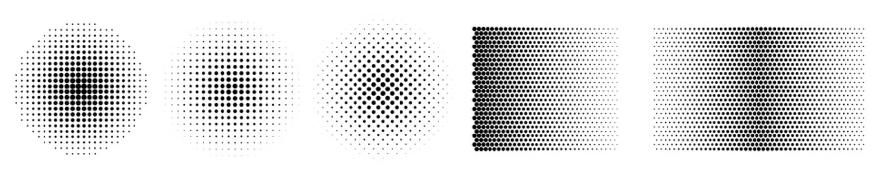 Set of black halftone dots backgrounds. Popart background with black dots – stock vector