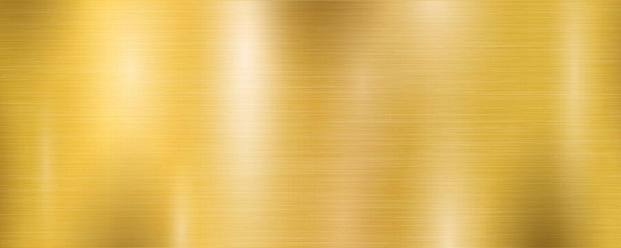 Golden metal wide textured plate brushed gradient, gold background texture – stock vector