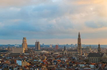 Cityscape of Antwerpen (Antwerp) at sunset with the cathedral tower, Belgium.