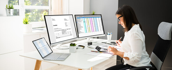 Online Taxes And Invoice Using Computer