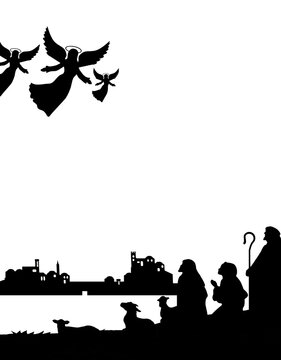 Shepherds silhouette , angels