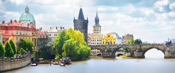 Picturesque panoramic view of the Old town in Prague, Czech republic. Culture and religion, national landmark, travel destinations, sightseeing, summer vacations