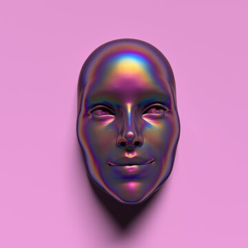Abstract 3D render illustration of holographic human face in the wall, robotic head made of glossy iridescent material. Artificial intelligence concept.
