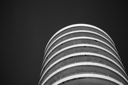 black and white round building