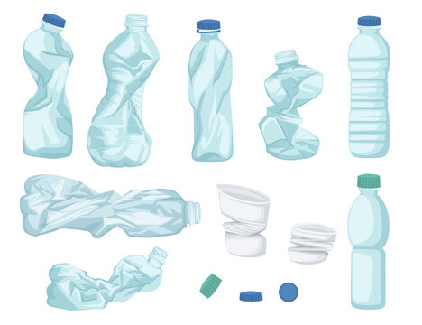 Plastic water bottle waste set of different bottle garbage transparent plastic flat vector illustration isolated on white background