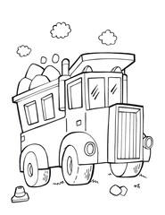 Cute Dump Truck Vector Illustration Coloring Page Art