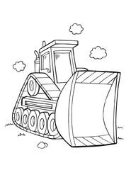 Bulldozer Construction Coloring Book Page Vector Illustration Art