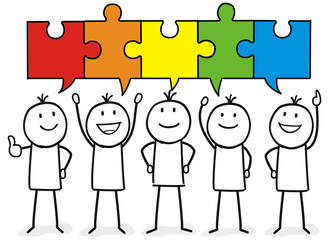 Team mit Puzzle Sprechblase welche zusammen passen