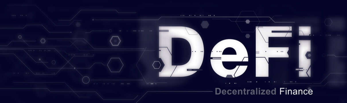 DeFi - Decentralized Finance and Crypto Finance Industry, futuristic wide banner concept