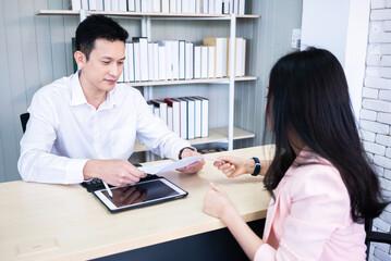 Businessman conducting a job interview.