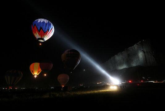 Aeronaut teams take part in the Crimean Sky hot air balloon festival in Crimea