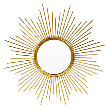 Gold Beveled Round Wall Mirror in a Sun-Ray Frame Isolated. Decorative Golden Sun Vintage Art Deco Mirror for Living Room & Bedrooms. Eye-Catching Wall Mounted Classic Circular Mirror. Interior Design