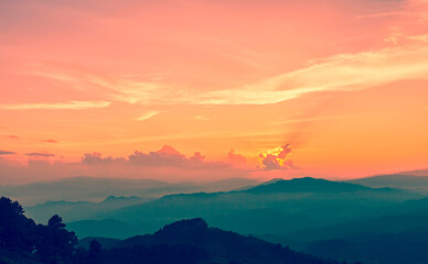 Landscape view in dramatic sunset at border of Thailand and Myanmar