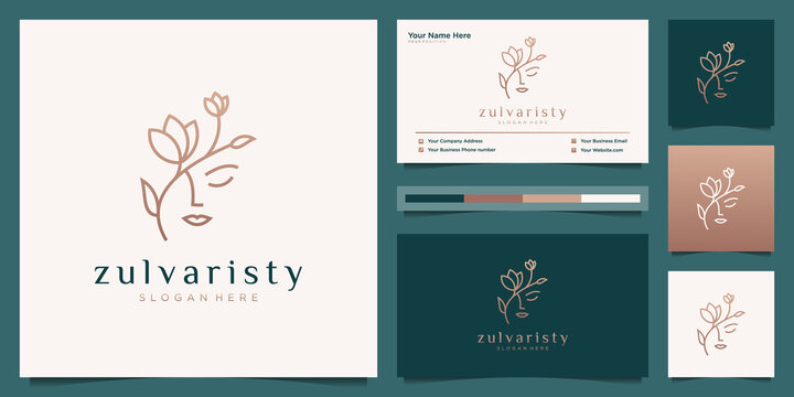 women face with flower logo design and business card. natural women logo for beauty salon, spa, cosmetic, and skin care. luxury feminine template.