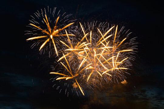 yellow fireworks fireworks in the dark evening sky
