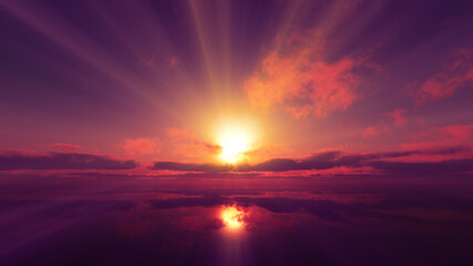 sunset calmly sea sun ray 3d render