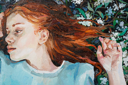Red-haired beauty, a young girl dreams on the field among different summer herbs and wild flowers. Oil painting on canvas.