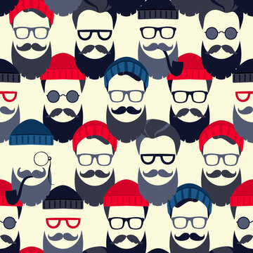 Bearded Hipster seamless pattern with glasses and hat on. Lumber sexual or Urban Lumberjack background.