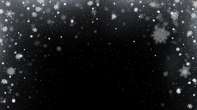 Snow arch frame overlay. Smoothly falling snowflakes. Transparent snowy effect on dark background vector illustration