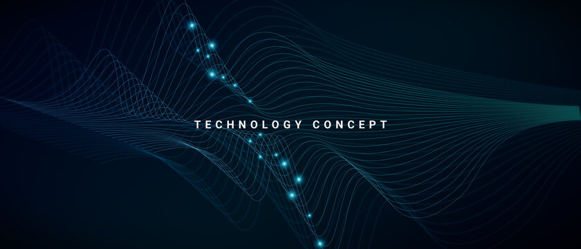 Abstract background for technology concept with geometric wave lines