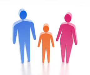 The Cell of a Society. Three varicoloured human figures of family members, which are an adult male, a child and an adult female. 3D-rendering graphics on reflective white background.