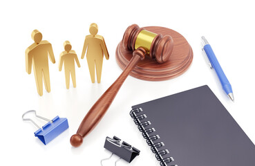 Family Divorce Proceedings. 3D-rendering graphics on the theme of a Functioning of the Justice System.
