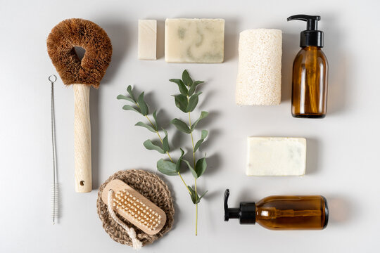 Reusable and natural organic products on background