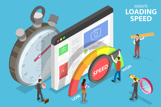 Website Loading Optimization, Page Speed and SEO. 3D Isometric Flat Vector Conceptual Illustration.