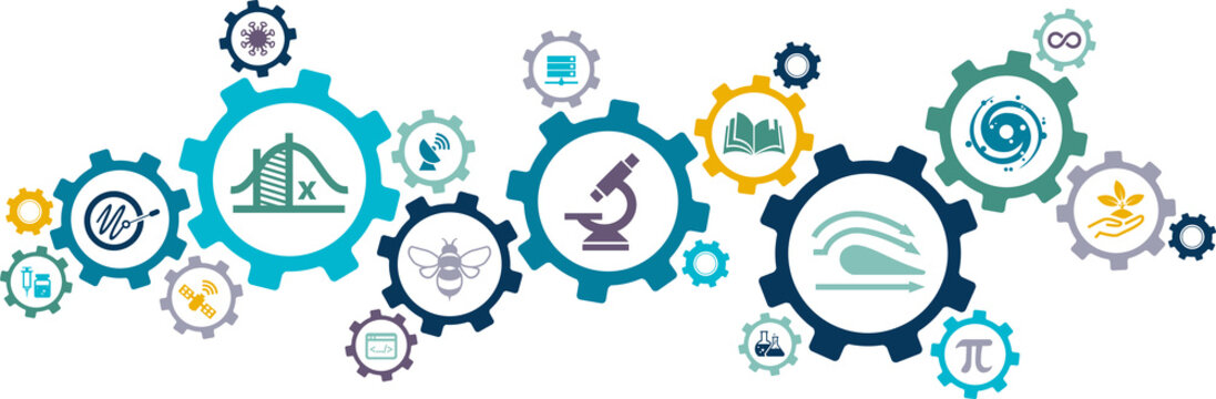 science / research  / education in stem subjects vector illustration. Concept related to science, technology, engineering, mathematics as academic subjects in college, school or university.