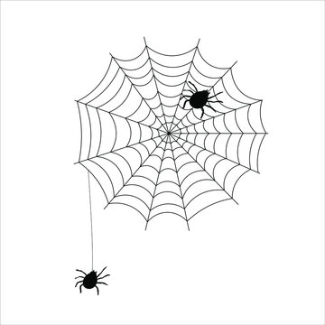 black spider with web icon for Halloween Day