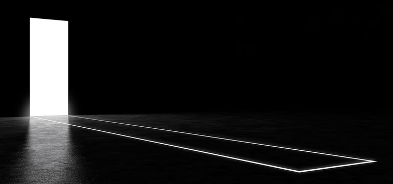A luminous portal in a dark space, with a path on the floor made of a luminous line. Luminous abstract geometric shape. 3D Render.