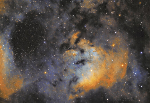 Close up of NGC 7822 nebula or Sharpless 171 in the Cepheus constellation. This image is taken by my telescope There are also some bright stars, called HD9104 and HD9099.